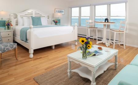 King bed with Lake Huron views