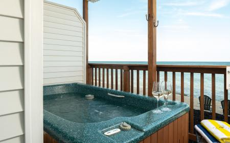 Private outdoor hot tub with Lake Huron views