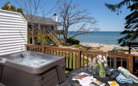 Outdoor hot tub on private deck