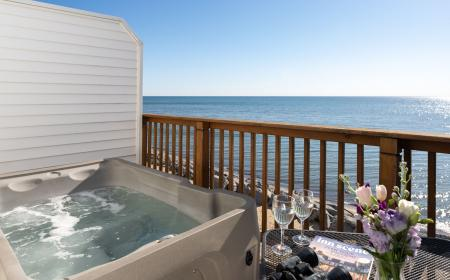 Private hot tub on outdoor deck