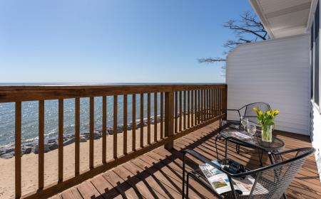 Private deck with view of Lake Huron