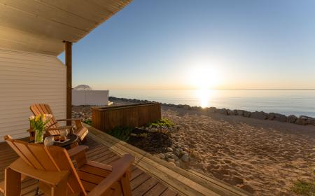 Private deck with direct beach access